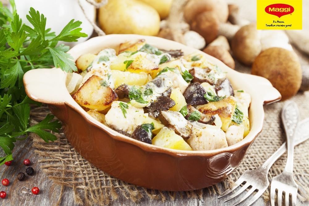 Тушеная картошка с грибами и курицей в кастрюле пошаговый рецепт с фото